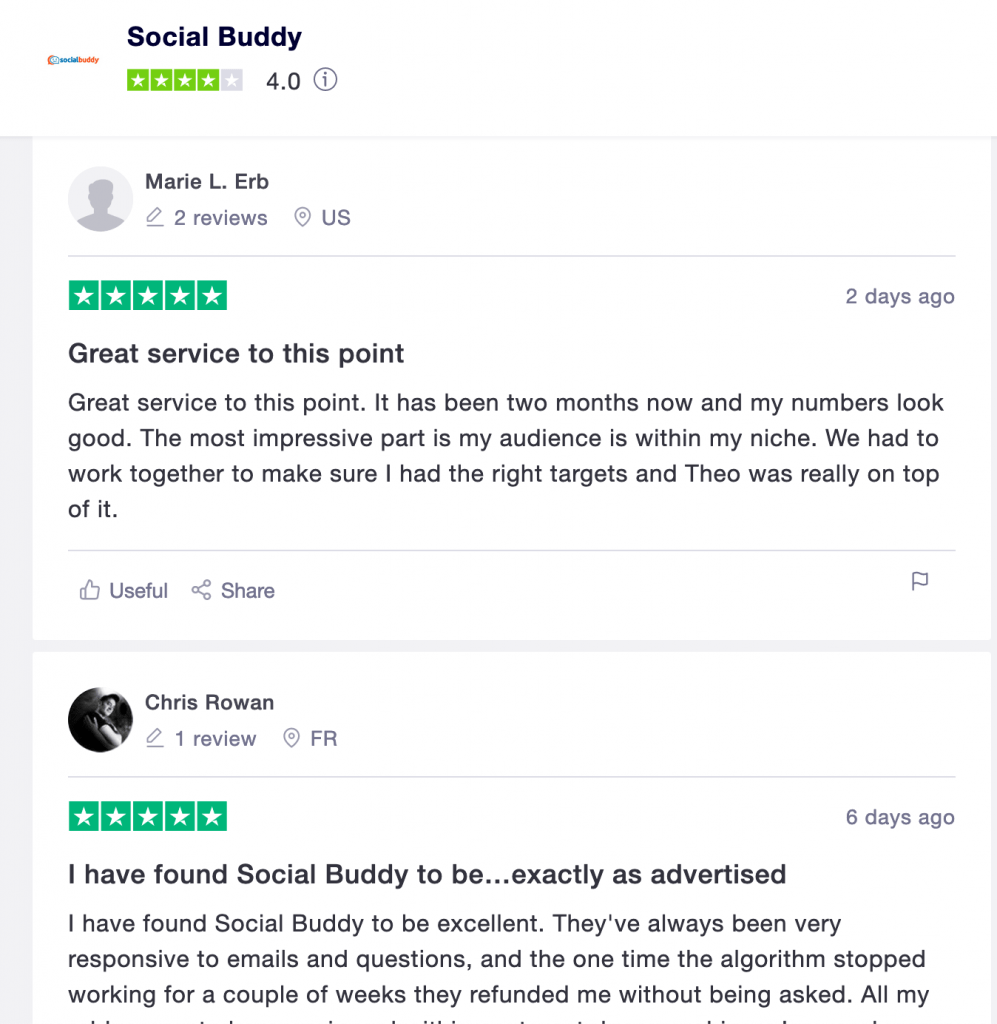 online reviews of social buddy